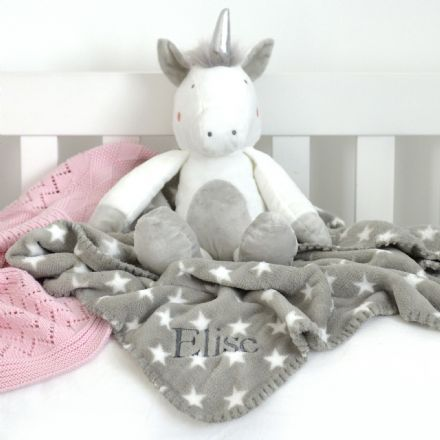Personalised Star Blanket And Unicorn Toy
